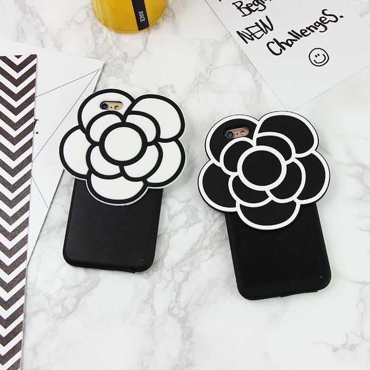 香奈兒小香風 名媛黑白山茶花蘋果送手機掛繩TPU 自動耳機塞6s 保護殼iPhone6 p