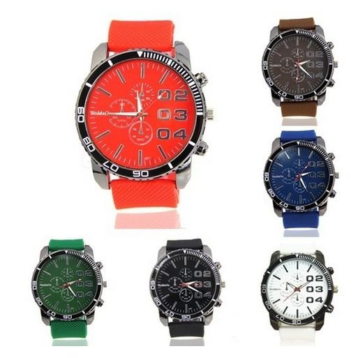 男不銹鋼錶盤矽膠錶帶手鍊體育模擬石英酷手錶