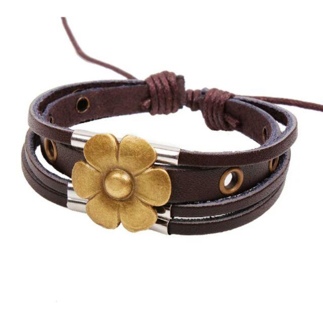 寵磨坊♡Mermaid 魔魅♡波希米亞式100 真皮編織扶桑花合金手環