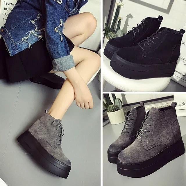 圓頭皮女靴套腳短靴厚底內增高坡跟 女鞋短筒馬丁靴