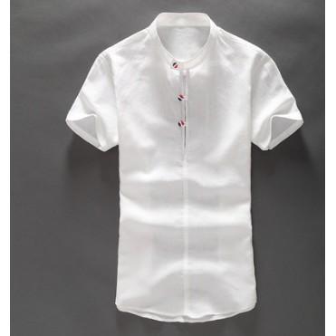 簡約清新白色短袖棉麻襯衫男士薄款休閒麻料修身半袖亞麻襯衣男裝