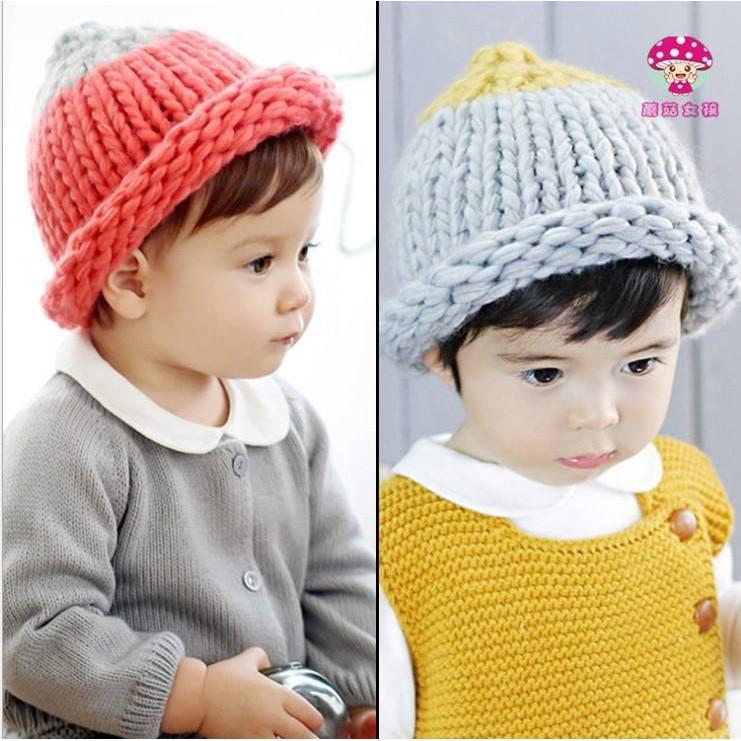 雙色粗毛線帽外出百搭男女兒童針織帽保暖帽