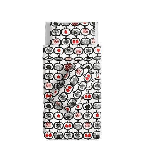 霜兔小舖IKEA ANGSSKARA 單人被套組150 200cm 黑白紅1 被單2 枕套