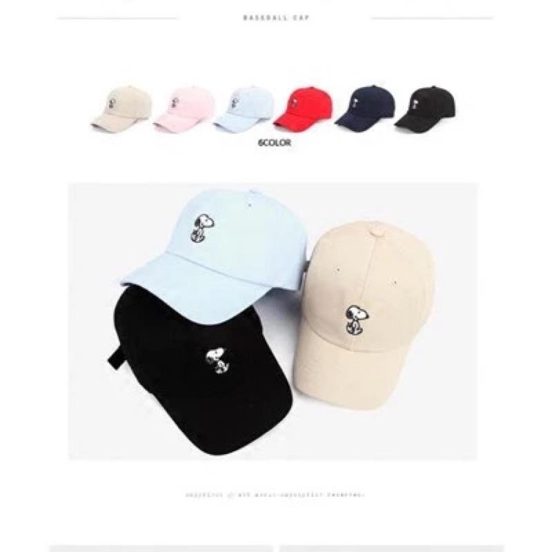 韓國老帽彎延帽棒球帽韓風復刻原素史努比黑色 國外帶回