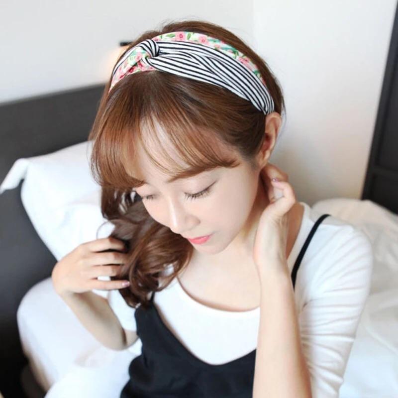 韓國 純美田園風條紋碎花交叉髮帶彩色印花拼接雪纺寬邊碎花