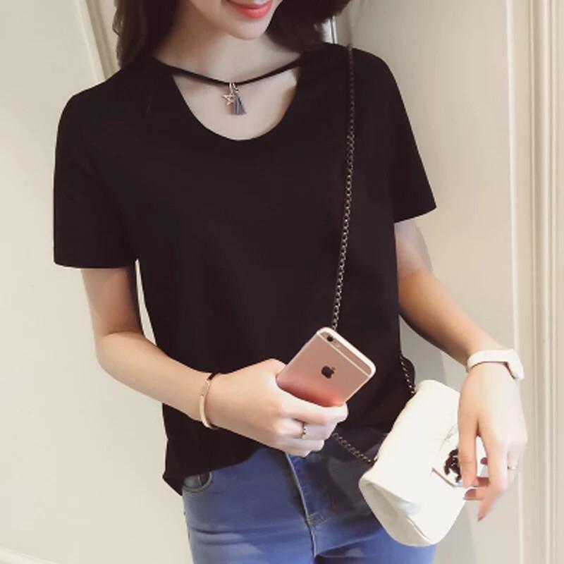 正韓洋裝韓國小性感領口鏤空白色素T 短袖百搭寬鬆上衣圓領流蘇項鍊t 恤女