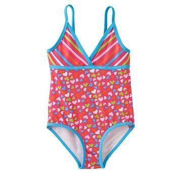 美國購回PINK PLATINUM 滿版愛心條紋連身泳衣泳裝12M