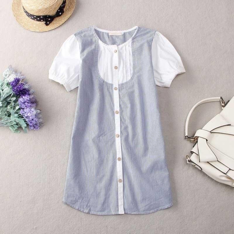 日系森女純棉條文短袖襯衫木扣開衫