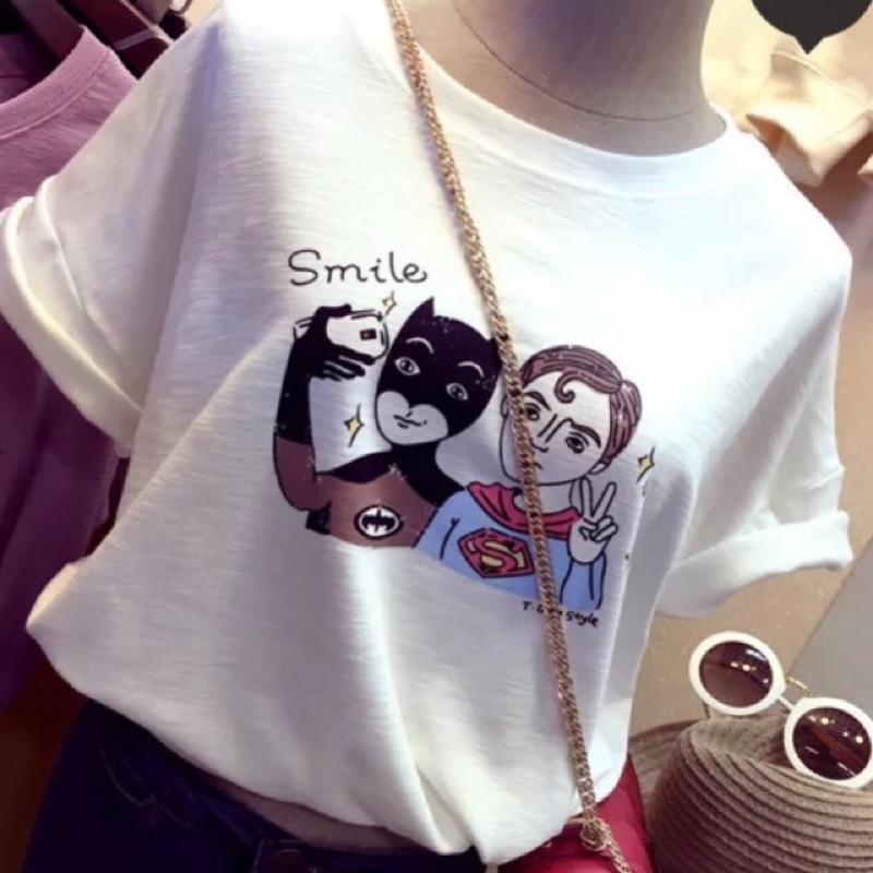 艷短袖T 恤竹節棉卡通寬鬆休閒上衣半袖五分袖女學生