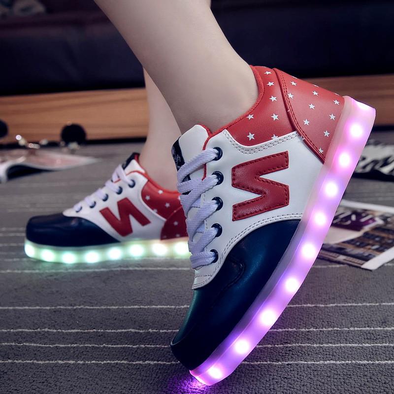 情侶夜光鞋USB 充電螢光LED 七彩發光鞋男女休閒板鞋閃光鞋子