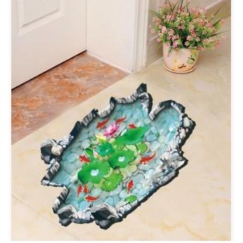 蓮花池塘魚3D 立體地板貼浴室兒童房裝飾牆貼可移除防水貼紙 牆貼客廳背景牆壁