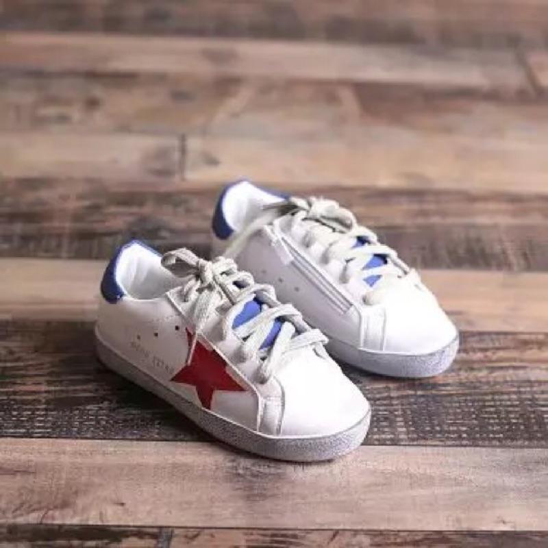 宋仲基太陽的後裔仿舊鞋兒童鞋男童 鞋女童板鞋星星小白鞋拼色 鞋拉鍊尺寸30 內長18 5