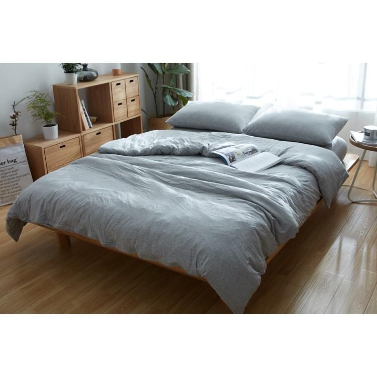 無印風格天竺棉簡約鄉村風格素色麻灰色裸睡神器單人雙人雙人加大床組三件組四件組