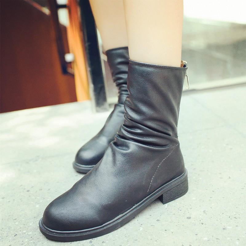 暗黑系中筒馬丁靴打蠟皮后拉鏈平跟皮平底粗跟春秋短靴女282