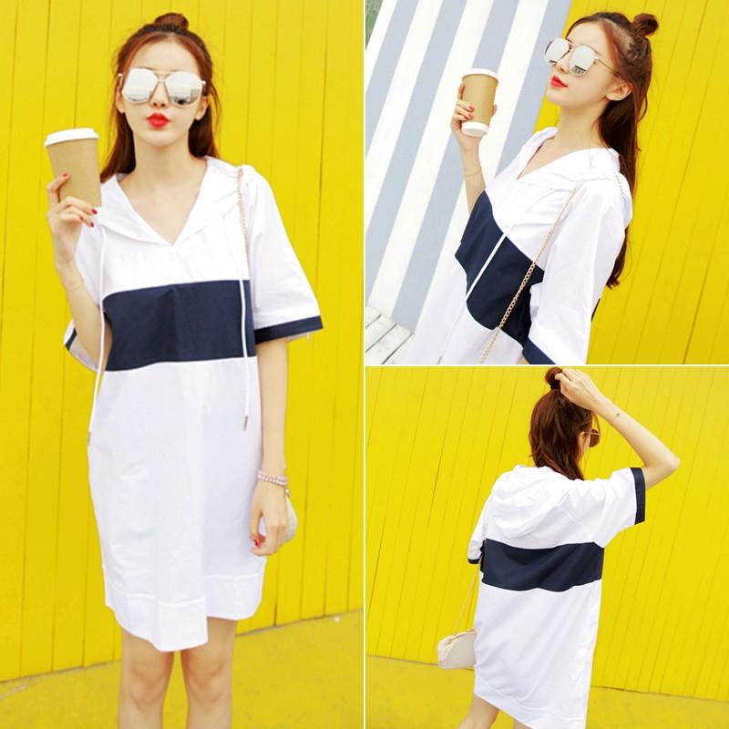 價韓國2016 休閒學院風拼色中長款連帽修身顯瘦寬鬆短袖T 恤連身裙