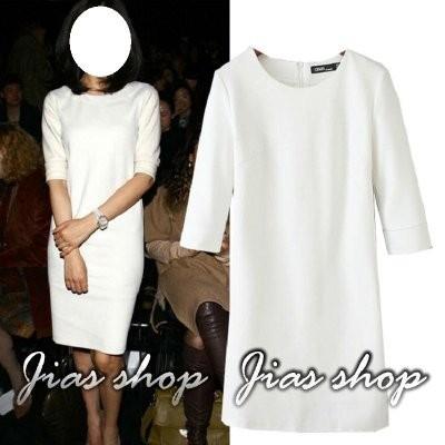 ~Jias shop ~ 氣質圓領純色修身羅馬布針織中袖連身裙洋裝ZARA H M ASO