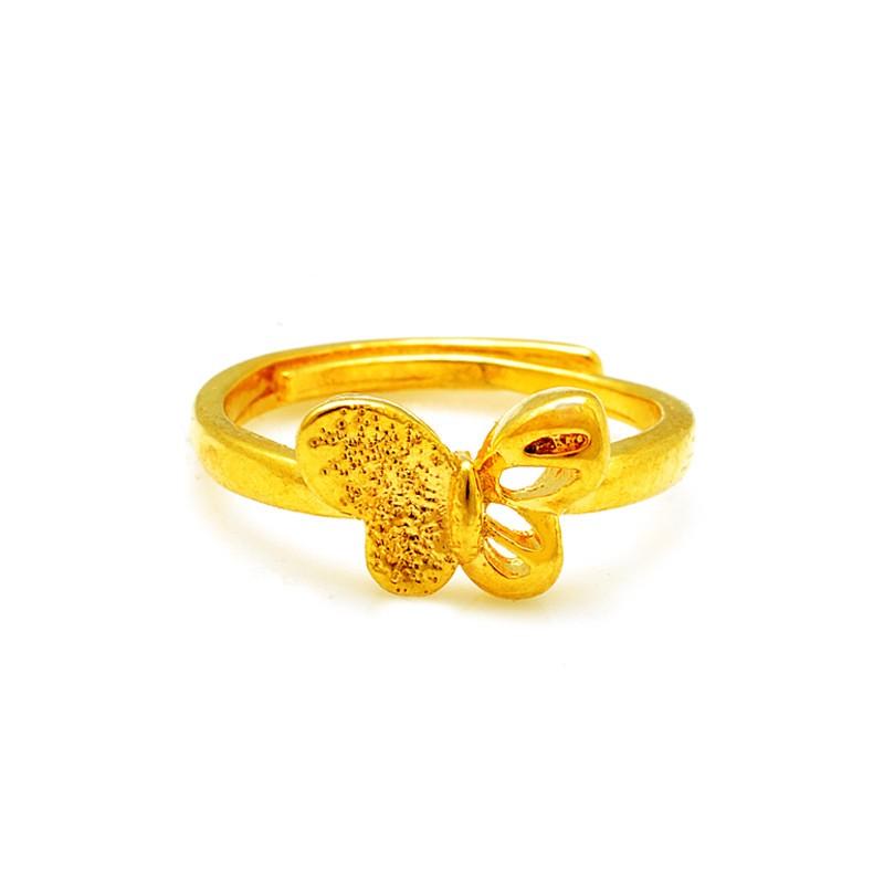 波麗唯美鍍24K 沙金防過敏精美 開扣蝴蝶戒可調節結婚訂婚情人節母親節父親節生日送禮