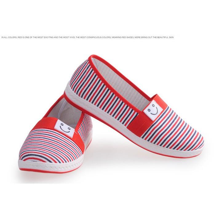 價女鞋 撞色細條紋笑臉休閒鞋平底鞋樂福鞋懶人鞋