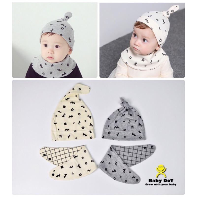 韓 ✨雙面圍兜套頭帽兩件組新生兒圍兜條紋圍巾雙面純棉口水巾寶寶棉帽綁腳帽 保暖帽空調帽