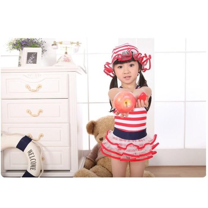 ~草莓花園~兒童連身泳衣條紋荷葉邊女童水手泳衣寶寶溫泉服紅條紋
