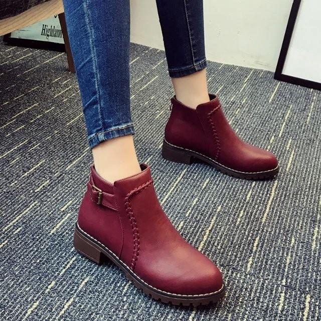 2016 春秋 馬丁靴潮女短靴圓頭后拉鏈粗跟女靴英倫風短筒單靴子