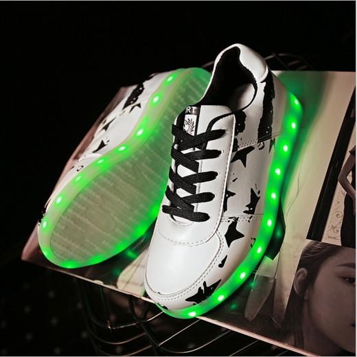 七彩發光鞋夜光鞋熒光鞋情侶款LED 燈鞋 男女板鞋USB 充電