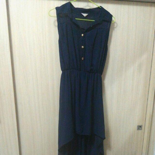 前短後長深藍色雪紡氣質襯衫領背心洋裝背心裙