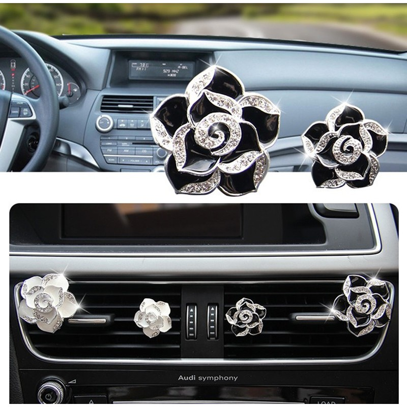 山茶花車用香水裝飾白鑽粉鑽黑鑽