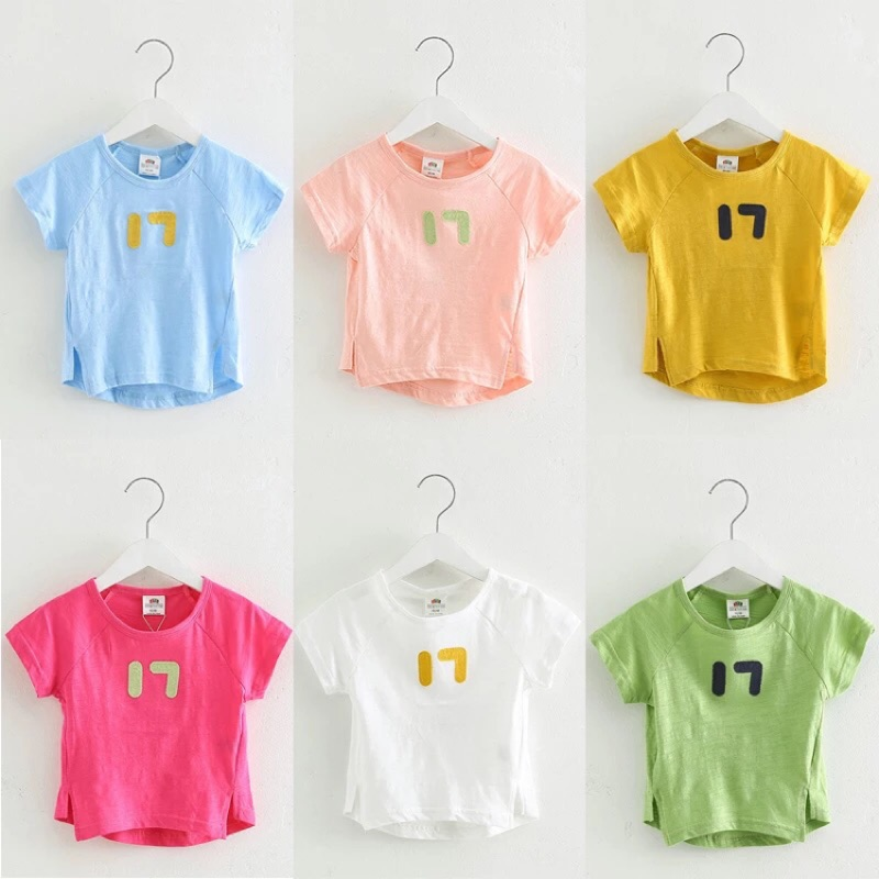 2017 夏裝 男童女童短袖T 恤數字上衣