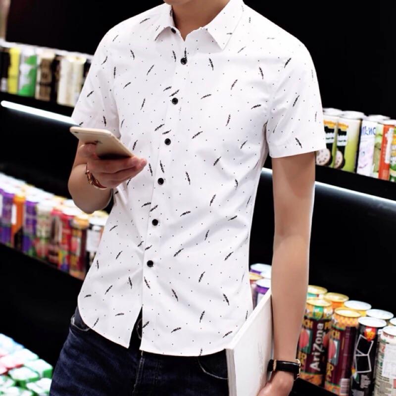 印花襯衫男短袖休閒襯衣 修身青年學生寸衫半袖男裝 潮