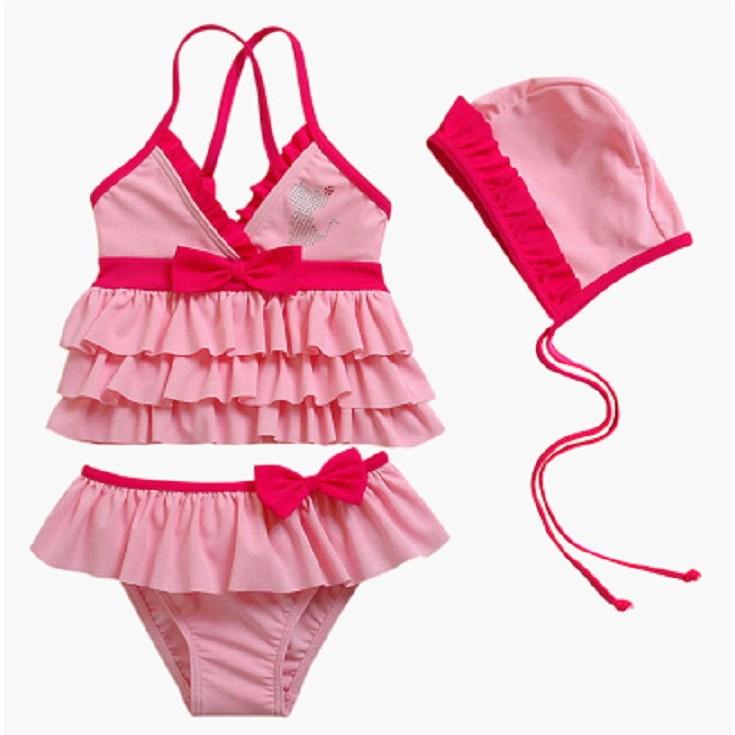 亮鑚貓咪粉紅蛋糕裙泳裝三件套100 120cm 泳帽泳衣泳褲溫泉泡湯