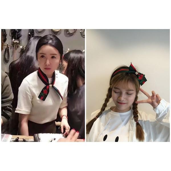 艾鎂韓貨 超甜美女孩韓劇最夯 花朵撞色領結髮帶2 色挑正韓Korea 空運