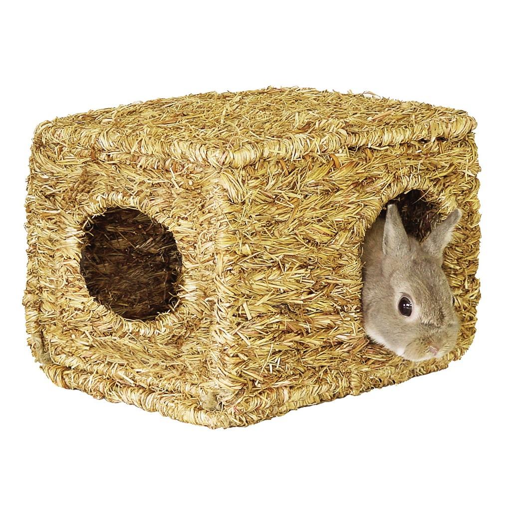 Petroyal Marukan 小動物 式牧草寢屋MR 409 天然麻繩摺疊兔窩可磨牙2