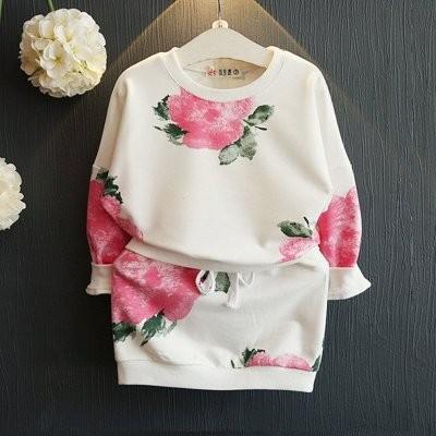 ღ瑪琪朵小舖ღ2016  女童粉色大花朵綠枝葉浪漫棉毛圈長袖短裙套裝 431
