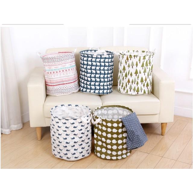 日式可折疊式棉麻髒衣籃、玩具收納籃,40x35 ,紅色條紋、北極熊、鯨魚、松樹、刺蝟等五款