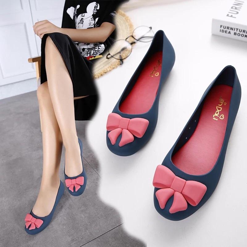 7 天交貨✈️2016  淺口果凍鞋蝴蝶結包頭平底鞋透氣防水女涼鞋沙灘鞋