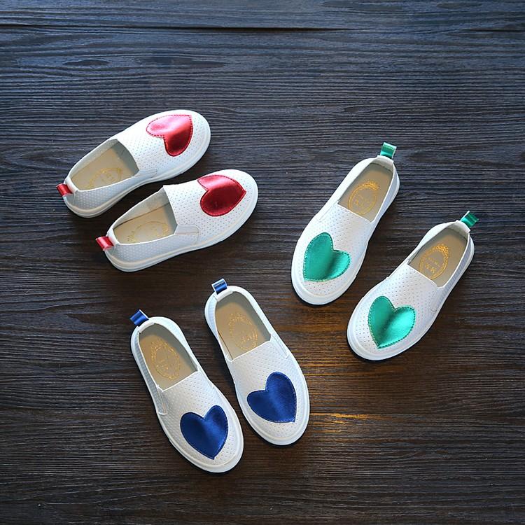 2016 春秋 兒童小白鞋女童板鞋男童鞋愛心休閒鞋寶寶 鞋