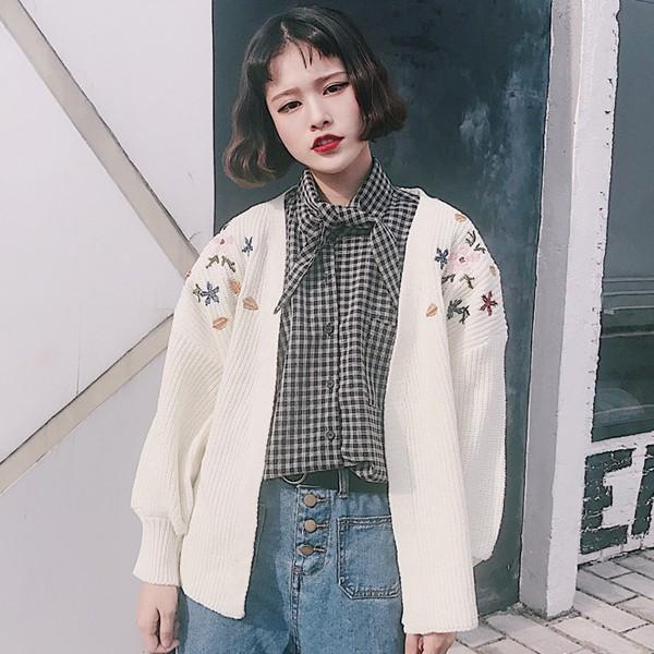 19345 新品顯瘦寬鬆粗線刺繡花朵開衫針織衫長袖毛衣外套