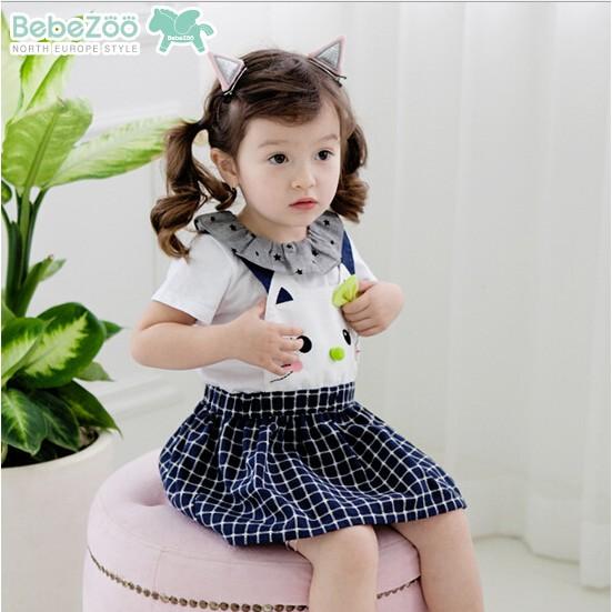韓國Bebezoo 可愛貓咪蝴蝶結格子吊帶裙背帶裙藍色