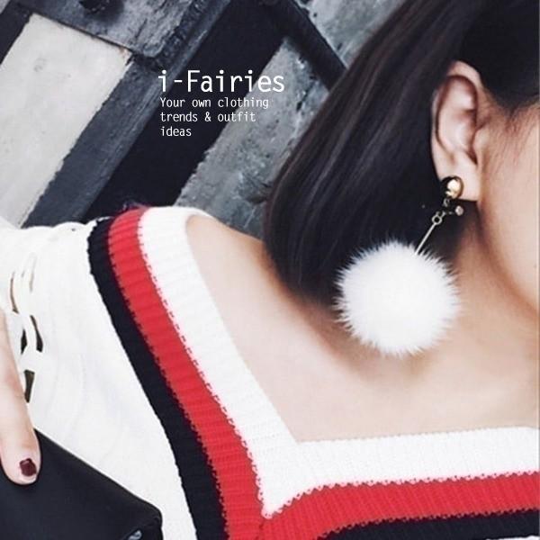 金屬風水貂毛球耳環耳釘~ifairies ~SL32276 ~