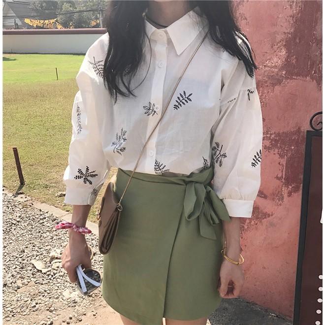 一件 日系文藝小清新襯衫2017 春秋女裝百搭七分袖襯衣學生 上衣