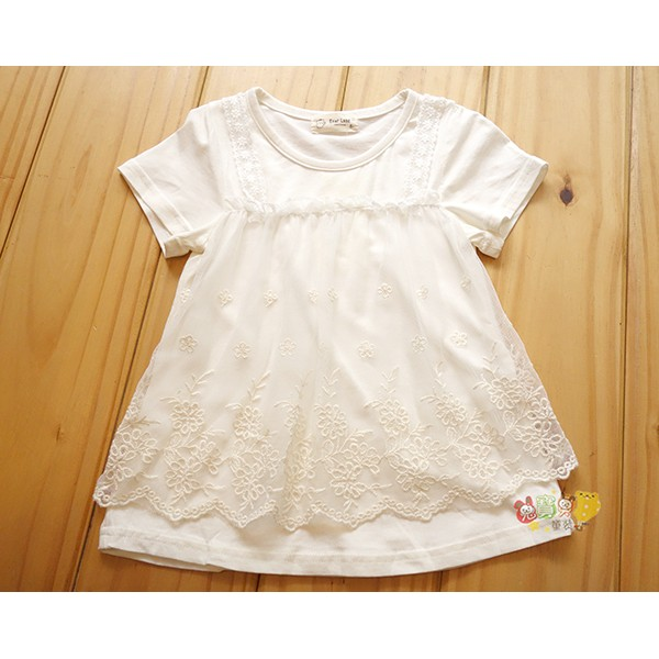 2390 中小童5 15 號蕾絲紗網白色棉t 恤A 字