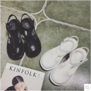 韓流家復古森女包頭娃娃鞋日系圓頭中跟厚底方跟涼鞋女夏學生魔術貼潮