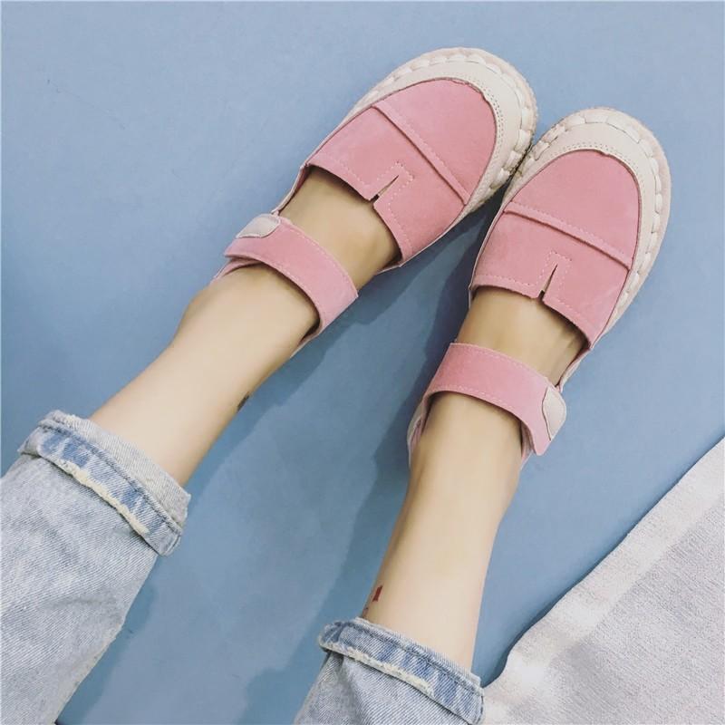 文藝休閒單鞋森女風娃娃鞋圓頭平底鞋魔術貼淺口 女鞋高跟鞋單鞋豆豆鞋涼鞋懶人鞋厚底
