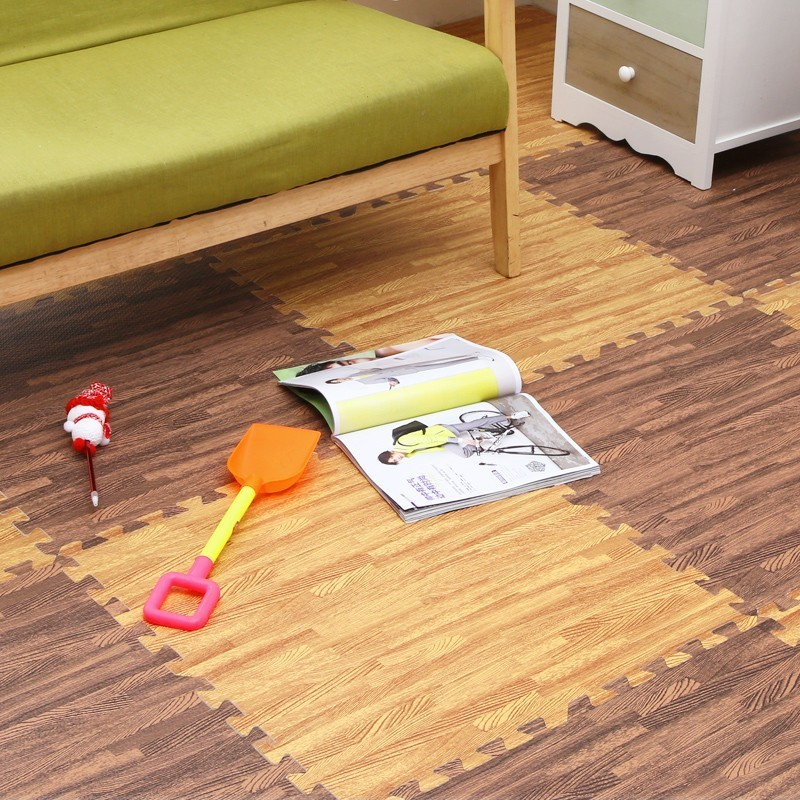 Ad 拼接地墊鋪地泡沫墊木紋地板拼圖塑膠地毯滿鋪臥室墊子兒童防滑60JT
