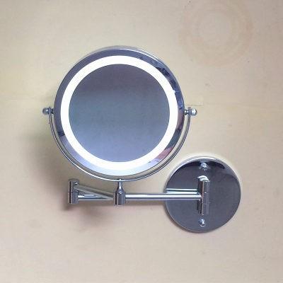 ~ ~~ ~浴室壁掛LED 化妝鏡折疊梳妝鏡帶燈伸縮鏡子雙面衛浴放大美容鏡