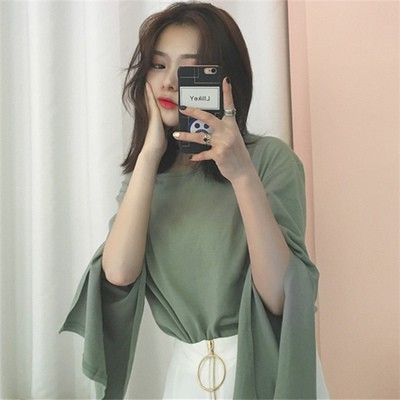 ~ ~寬鬆顯瘦韓系學院風上衣女開叉喇叭袖大碼純色長袖T 恤女 寬松學生春夏女上衣打底衫純色
