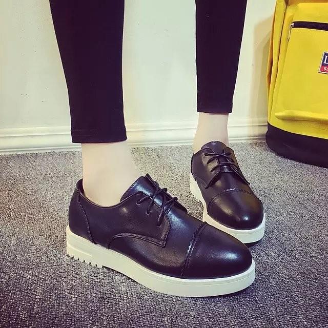 ~風雅軒~黑色小皮鞋女 透氣系帶單鞋 圓頭低跟學院風學生平底工作鞋