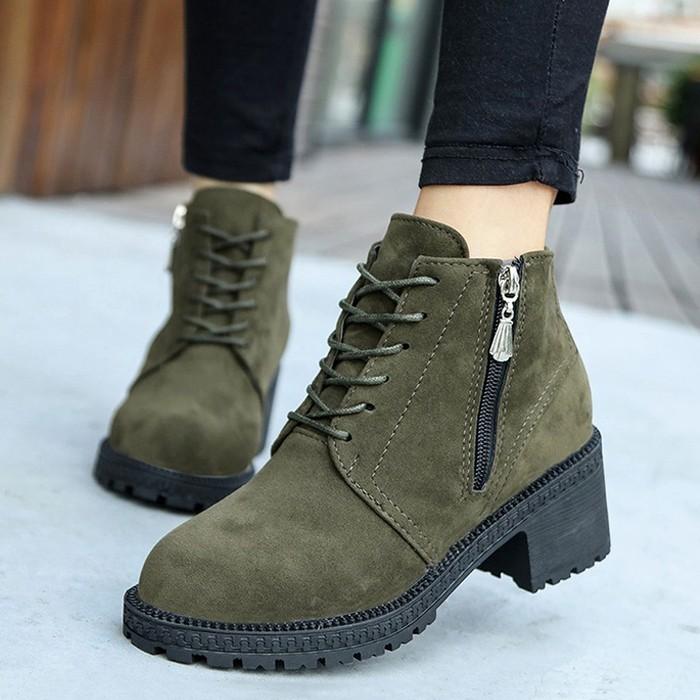 新品 絨面粗跟高跟短靴圓頭馬丁靴單靴系帶女靴子春秋女鞋