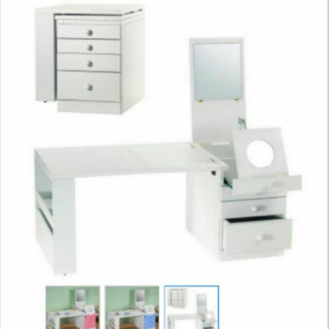 粉彩折疊和室掀鏡化粧書桌化妝桌折疊桌和室桌可收納